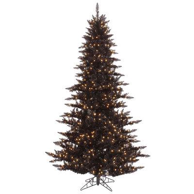 6.5 ft Black Christmas Tree   Prelit Clear LED Xmas Tree