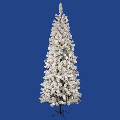 5.5 ft Slim Flocked Christmas Tree   LED White Lights