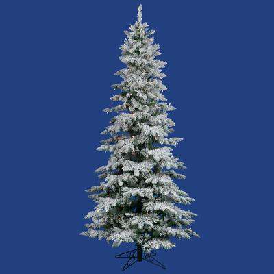 6.5ft Flocked Christmas Tree | Prelit Color LED Xmas Tree